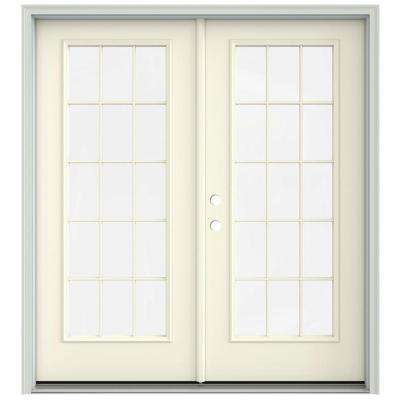 72 in. x 80 in. Vanilla Painted Steel Right-Hand Inswing 15 Lite Glass Stationary/Active Patio Door