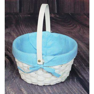 10.5 in. x 6 in. x 10.5 in. White Painted Round Woodchip Lined Basket (Blue)