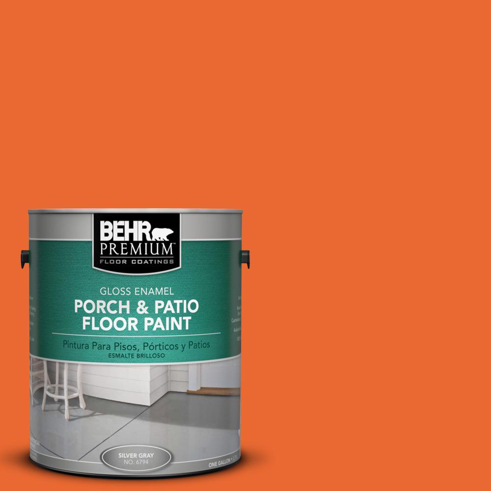 1 gal. #220B-7 Electric Orange Gloss Interior/Exterior Porch and Patio Floor Paint