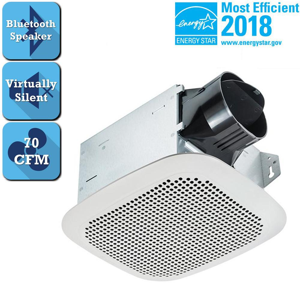 Bathroom Ceiling Exhaust Fan Bluetooth Speaker Galvanized Steel Square White 885917001674