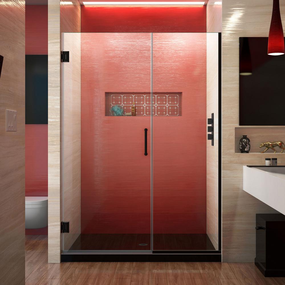 Unidoor Plus 52.5 to 53 in. x 72 in. Frameless Hinged Shower Door in Satin Black