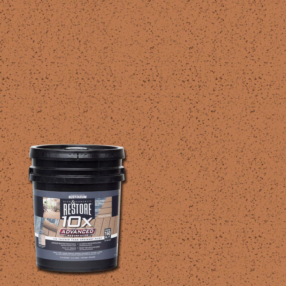 Rust oleum restore 4 gal 10x advanced cedartone deck and concrete resurfacer 291471 the home for Rustoleum exterior concrete paint