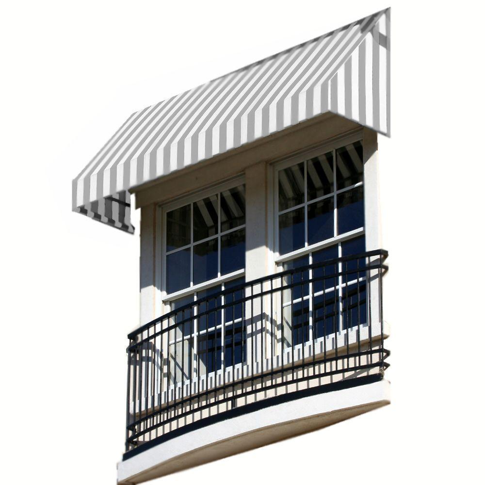 AWNTECH 4 ft. New Yorker Window Awning (31 in. H x 24 in. D) in Gray/White Stripe