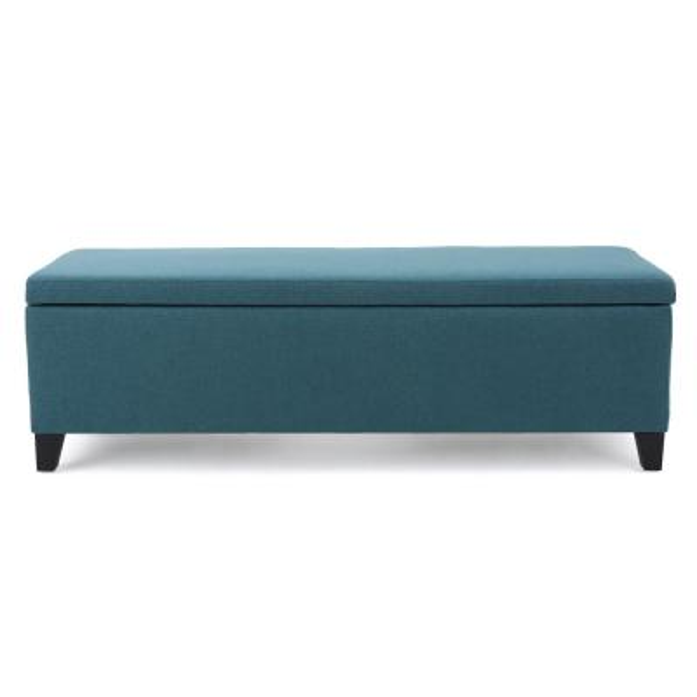 Cleo Dark Teal Fabric Storage Bench
