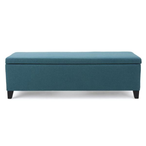 Noble House Cleo Dark Teal Fabric Storage Bench