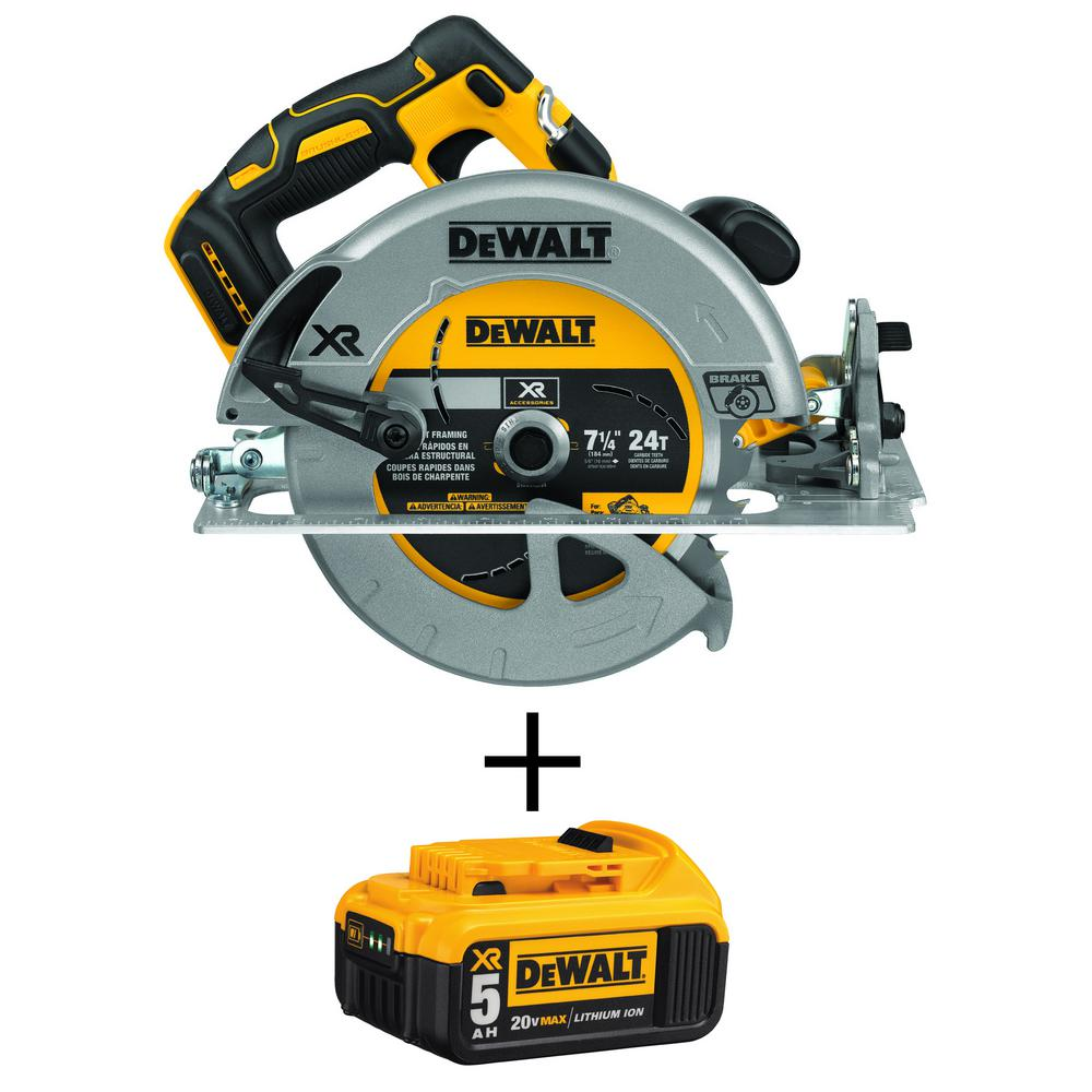 DEWALT 20-Volt MAX XR Li-Ion Brushless Cordless 7-1/4 in. Circular Saw with Brake (Tool-Only) with 20-Volt Li-Ion Battery 5 Ah