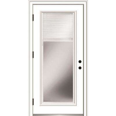 30 in. x 80 in. Internal Blinds Right-Hand Outswing Full Lite Clear Primed Fiberglass Smooth Prehung Front Door