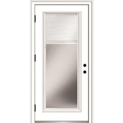 36 in. x 80 in. Internal Blinds Right-Hand Outswing Full Lite Clear Primed Steel Prehung Front Door with Brickmould