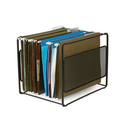 Metal Mesh Hanging Folder File Organizer in Black