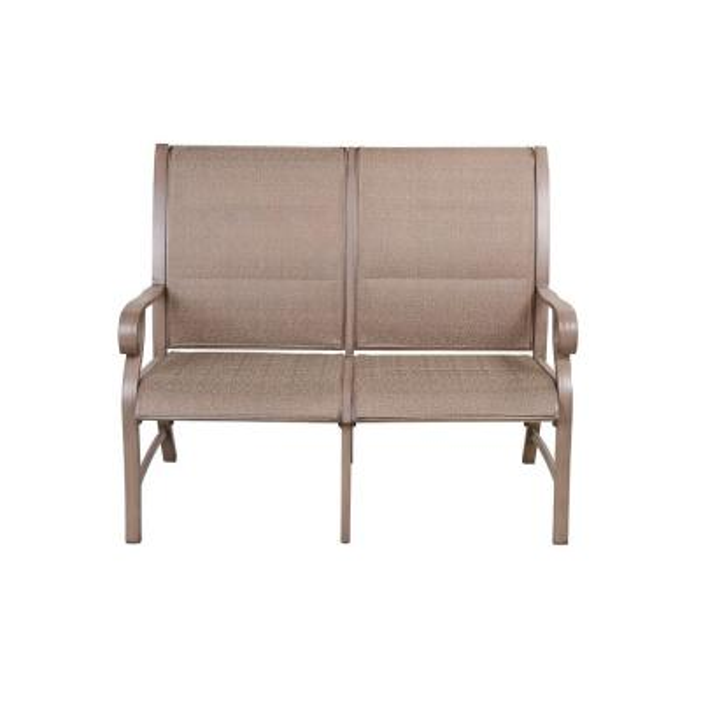 Light Coffee 1-Piece Aluminum Outdoor Loveseat CushionGuard Brown Cushions