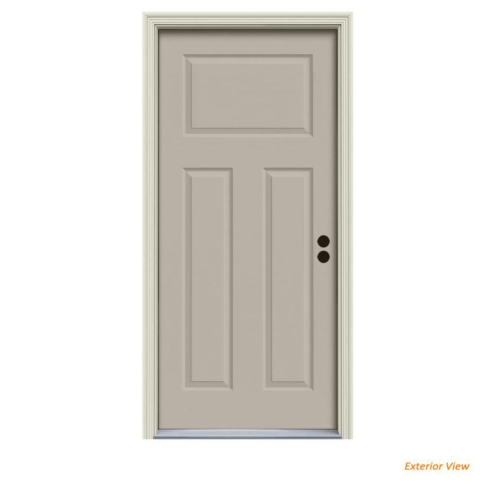 30 in. x 80 in. 3-Panel Craftsman Desert Sand Painted Steel Prehung Left-Hand Inswing Front Door w/Brickmould