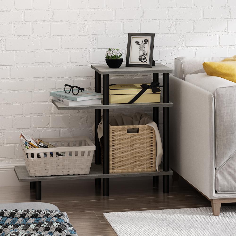 Turn-N-Tube French Oak Grey 3-Tier Sofa Side Table
