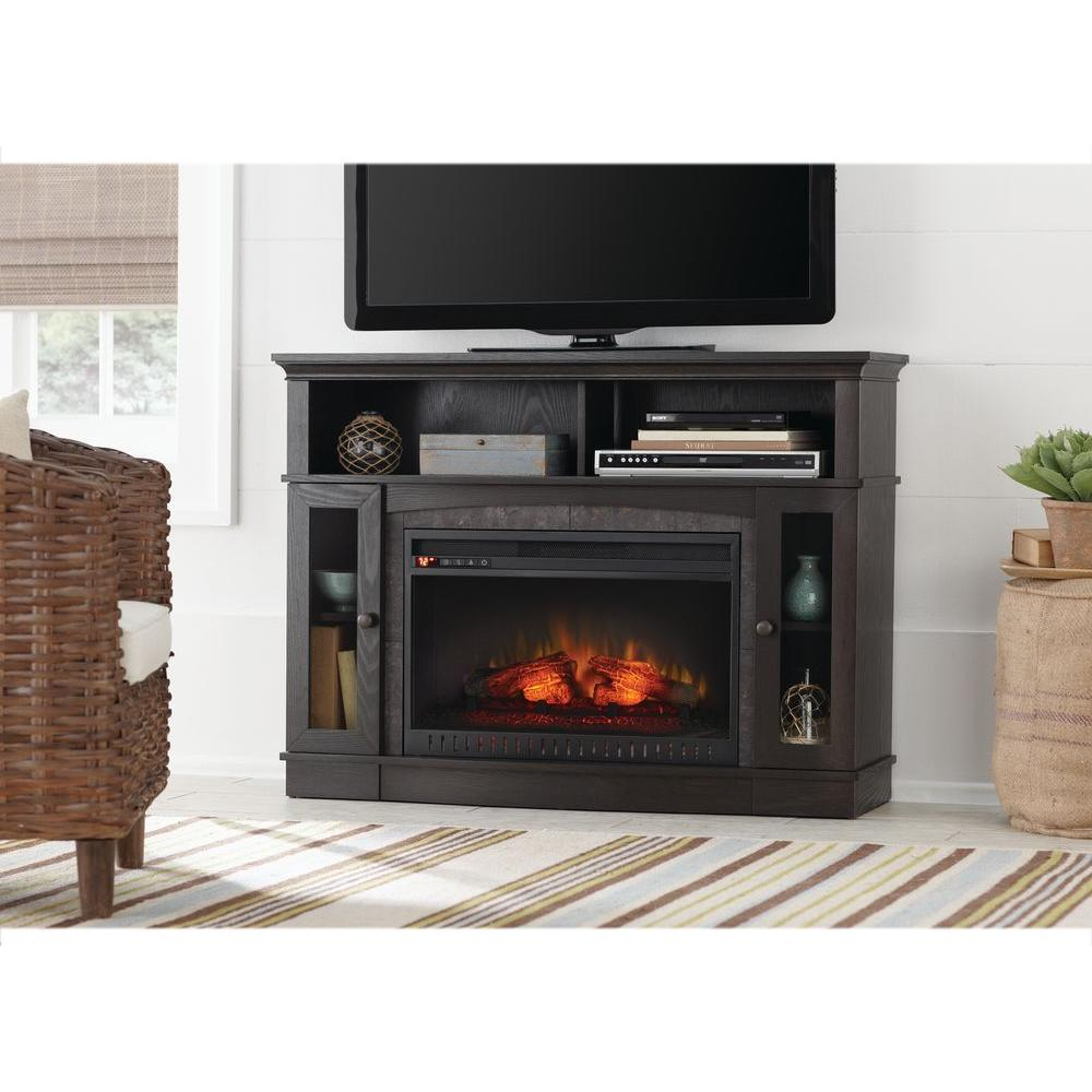 Give your living space a hint of elegance with this Home Decorators Collection Grafton Media Console Infrared Electric Fireplace in Espresso.