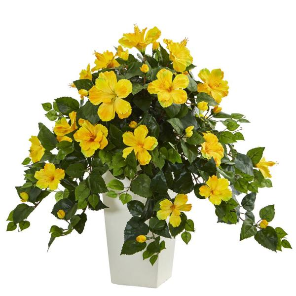 Nearly Natural Hibiscus Artificial Plant In White Tower Planter 6364