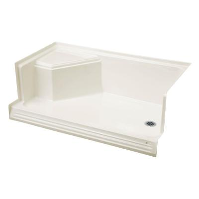Memoirs 60 in. x 36 in. Shower Base with Integral Seat At Left and Right-Hand Drain in White
