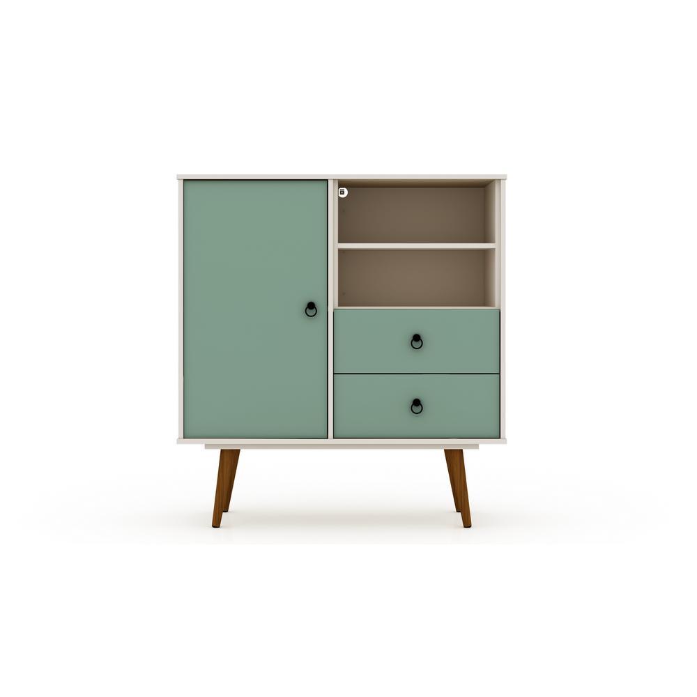 2-Drawer Off White and Green Mint Montauk Mid-Century Modern Dresser