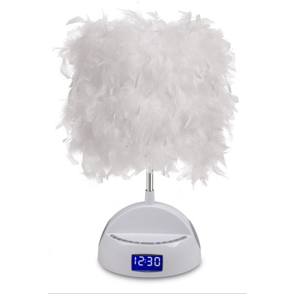 LighTunes Rhythm 15.25 in. White Bluetooth Speaker Lamp with Alarm Clock, FM Radio, USB Charging Port and Feather Boa Shade
