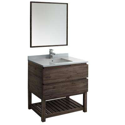 36 in. Modern Vanity with Open Bottom in Warm Gray with Quartz Stone Vanity Top in White with White Basin and Mirror