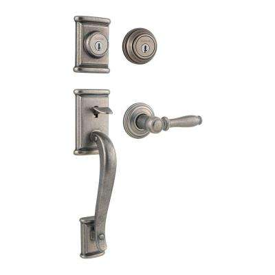 Ashfield Rustic Pewter Double Cylinder Handleset with Ashfield Lever featuring SmartKey
