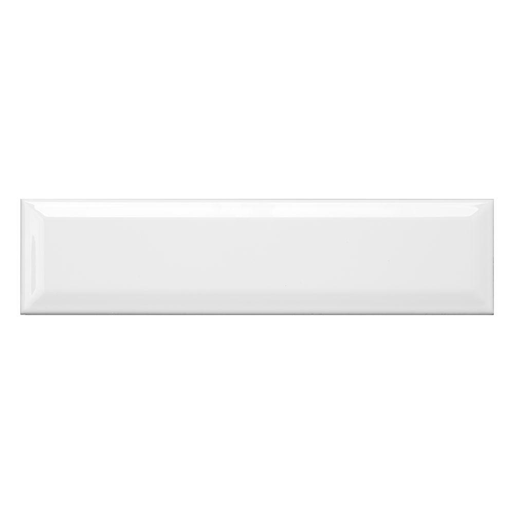 Allegro White Bevel 3 in. x 12 in. Ceramic Wall Tile