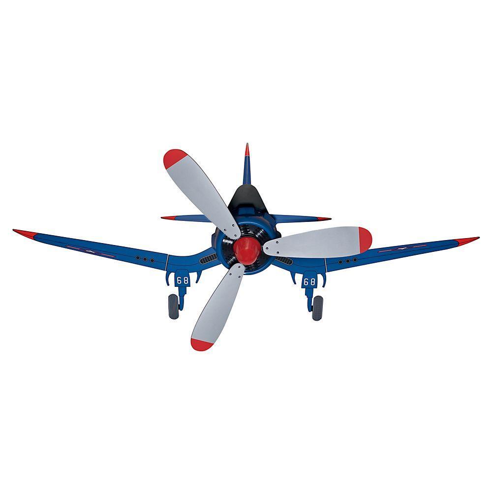 Fantasy Flyer 48 in. Indoor Blue Flush Mount Ceiling Fan Bundled with Handheld Remote Control