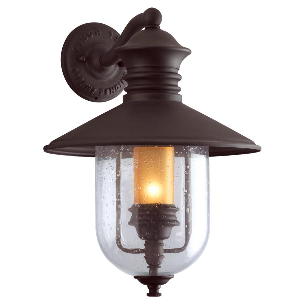Troy Lighting Old Town Natural Bronze Outdoor Wall Lantern Sconce