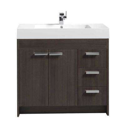 Lugano 36 in. W x 19 in. D x 34 in. H Vanity in Gray Oak with Acrylic Top in White with White Basin