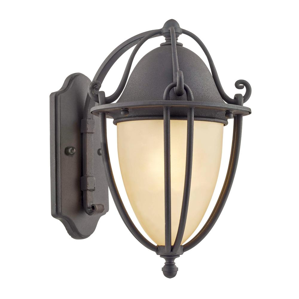 Fifth and Main Lighting Portage 11.8 in. H 1-Light Natural Bronze Outdoor Wall Mount Lantern