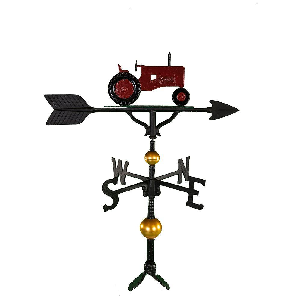 Montague Metal Products 32 in. Deluxe Red Tractor Weathervane Montague Metal Products hand crafted weathervanes are of the highest quality. These fully functional weathervanes are cast of rust free aluminum and finished with weather resistant paint to insure a lifetime of enjoyment. The standard adjustable clutch base makes installation quite easy. Flat bases and threaded masts are also available as an additional option.