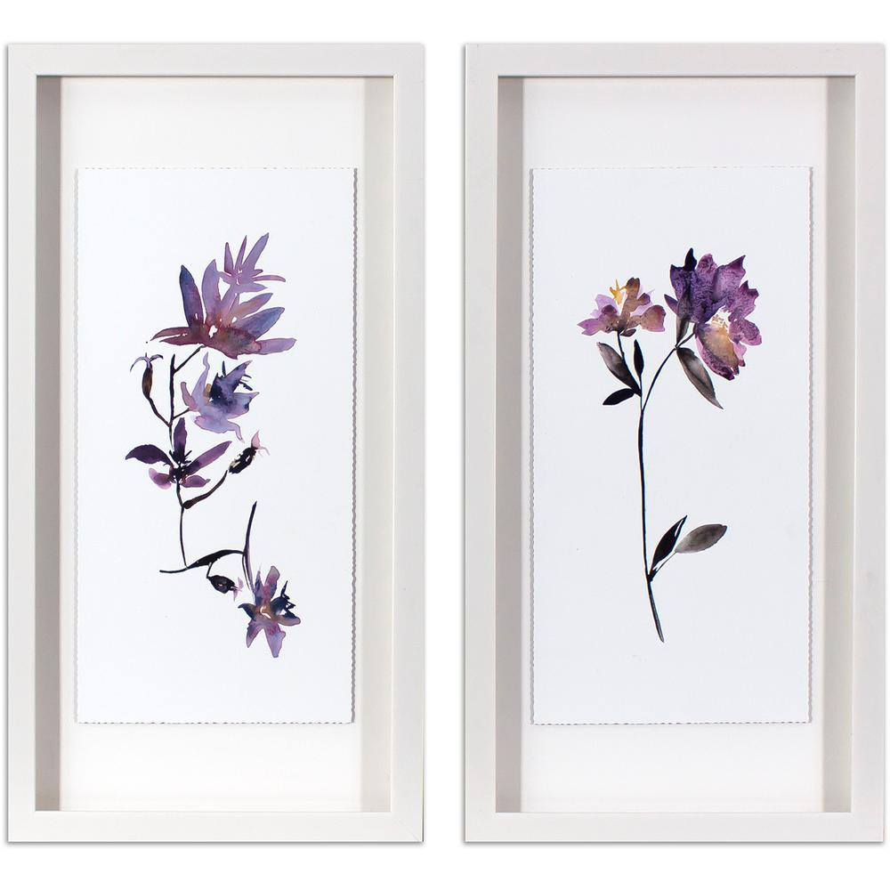 25.5 in. x 13.5 in. Violet Watercolor Flowers Printed Framed Wall