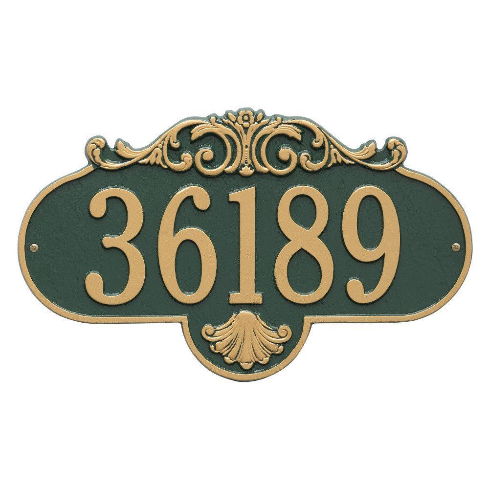 Rochelle Oval Green/Gold Grande Wall 1-Line Address Plaque