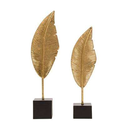 Gold Accent Leaf Tabletop Decor (Set of 2)