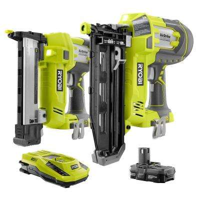 18-Volt ONE+ Cordless AirStrike Straight Nailer and AirStrike Narrow Crown Stapler 2-Tool Combo with Battery and Charger