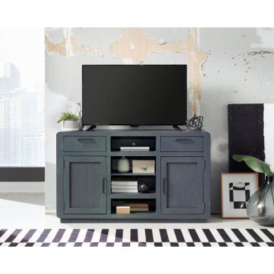 Allure 54 in. Blue Lagoon Wood TV Stand with 2 Drawer Fits TVs Up to 60 in. with Storage Doors