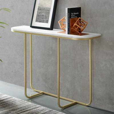 White Faux Marble/Gold Modern Curved Entry Table