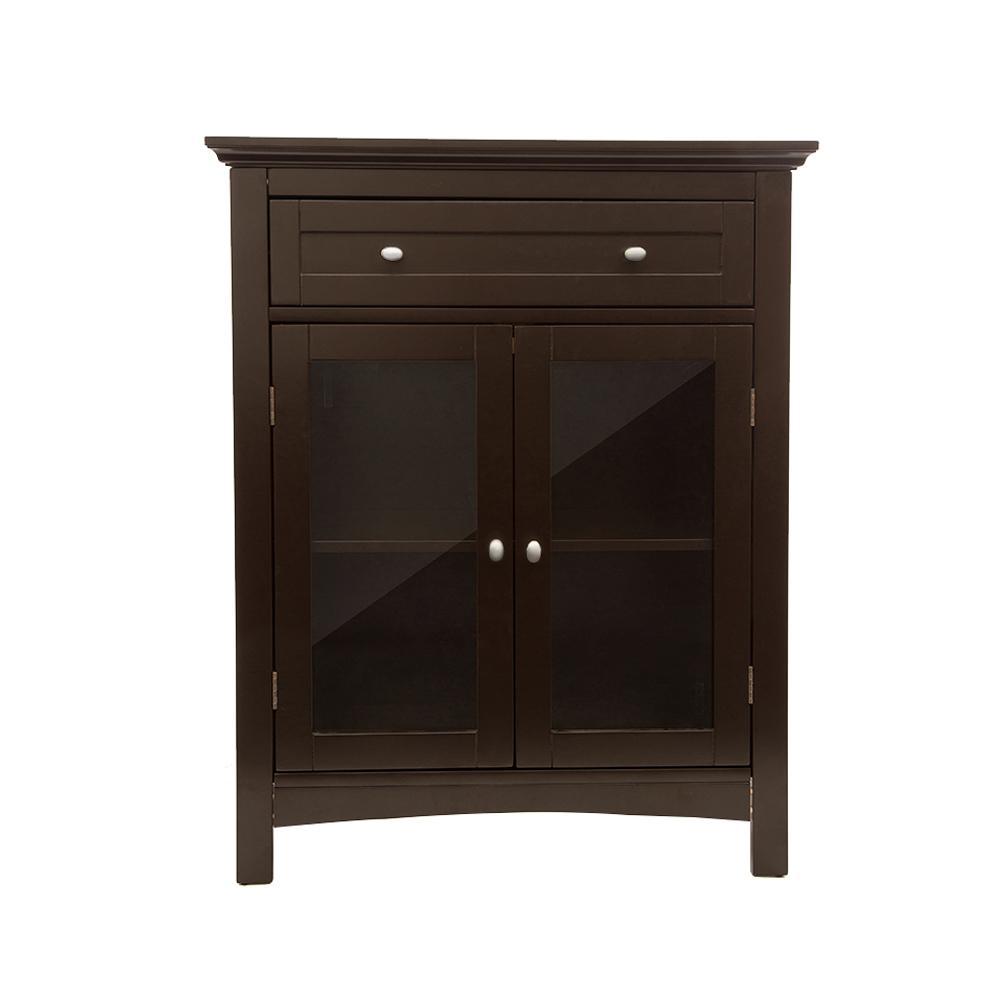 Glitzhome 3211 In H Wooden Espresso Floor Storage Cabinet With