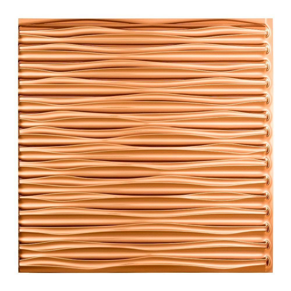 Fasade Dunes Horizontal 2 Ft X 2 Ft Glue Up Vinyl Ceiling Tile In Polished Copper 20 Sq Ft Pg7525 The Home Depot