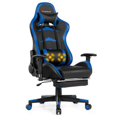 Blue Gaming Chair Reclining Swivel Racing Office Chair with Footrest