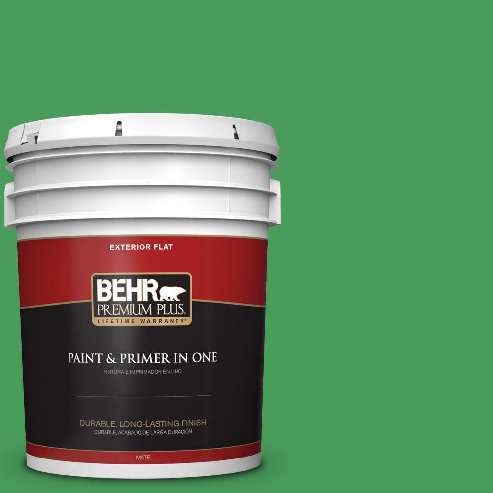 BEHR Premium Plus 5-gal. #P400-6 Clover Patch Flat Exterior Paint