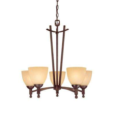 5-Light Rubbed Bronze Chandelier with Florentine Scavo Glass