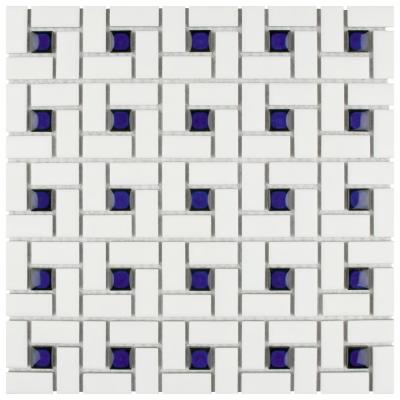 Spiral Blue and White 12-1/2 in. x 12-1/2 in. x 6 mm Porcelain Mosaic Tile (11.07 sq. ft. / case)