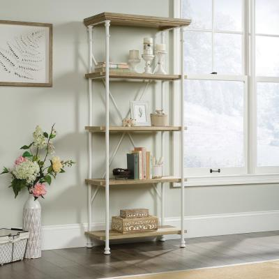 70 in. Coastal Oak Metal 4-shelf Accent Bookcase with Open Back