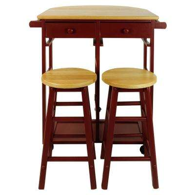 Red Breakfast Cart with Drop-Leaf Table