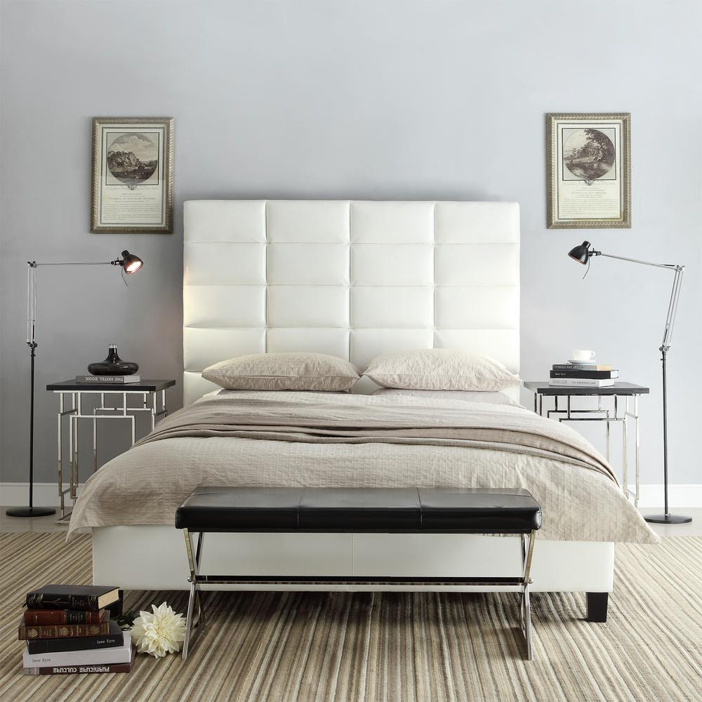 Upland White King Upholstered Bed