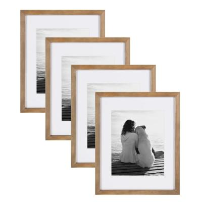 Gallery 11 in. x 14 in. Matted to 8 in. x 10 in. Rustic Brown Wood Picture Frame (Set of 4)