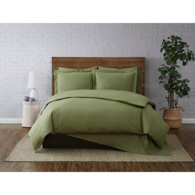 Solid Cotton Percale 2-Piece Olive Green Twin XL Duvet Set