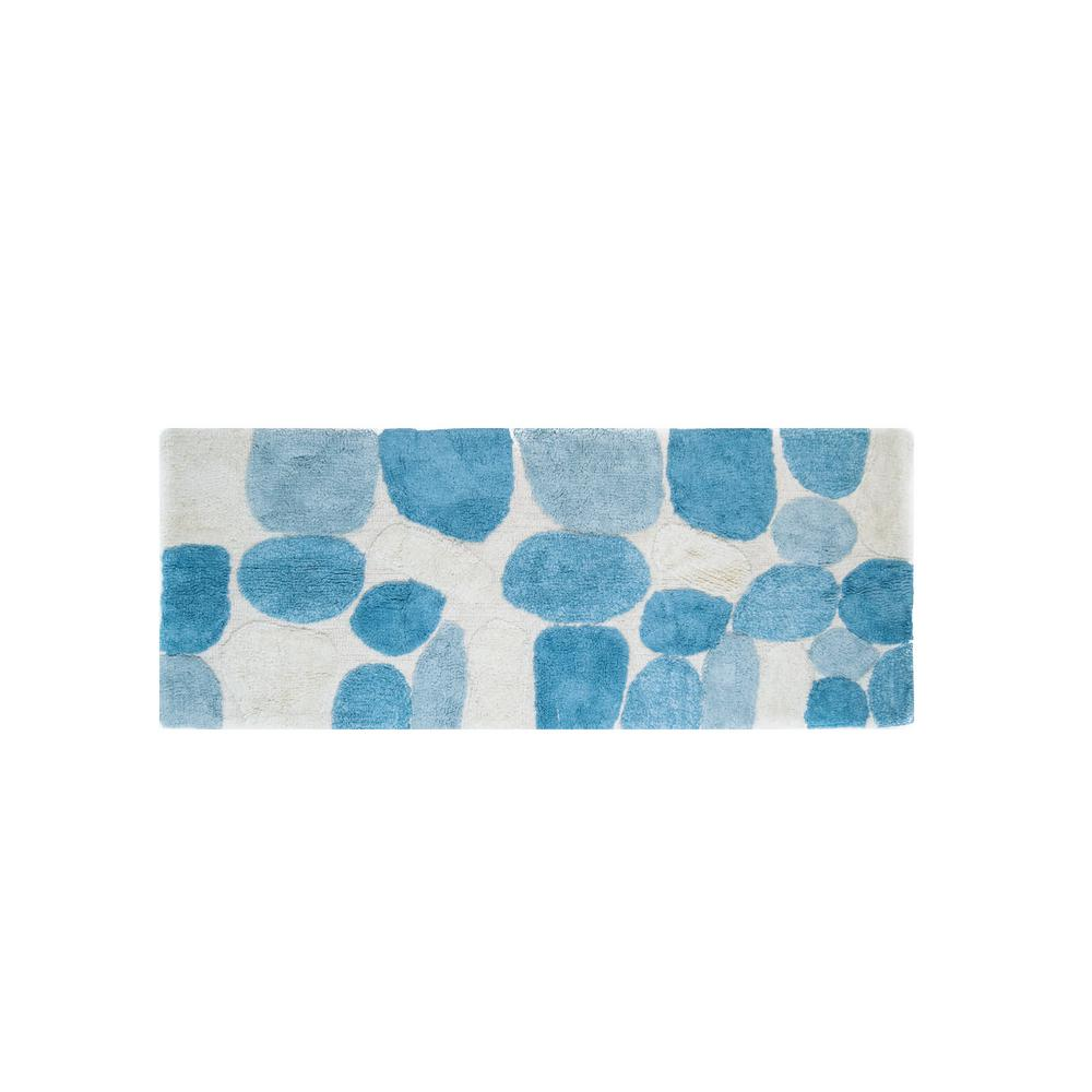 Chesapeake Merchandising Pebbles Aquamarine 24 In X 60 Bath Rug Runner