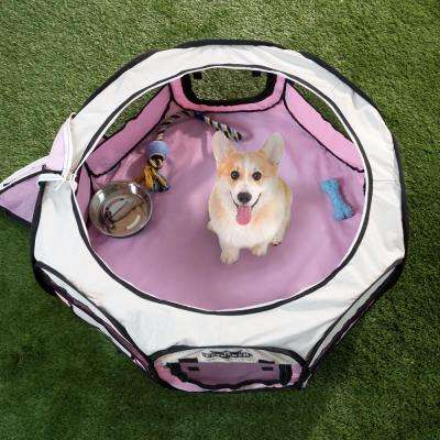 33 in. x 33 in. Portable Pop Up Pet Play Pen with Carrying Bag in Pink