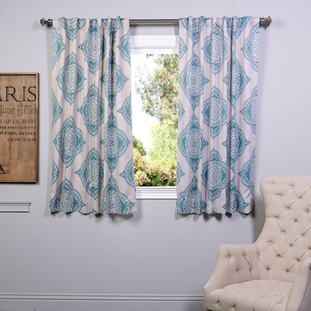 Exclusive Fabrics & Furnishings Semi-Opaque 63 in. L Polyester Curtain in Blue (Panel)
