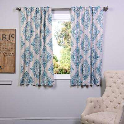 Semi-Opaque 63 in. L Polyester Curtain in Blue (Panel)